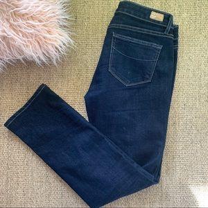 PAIGE  Skyline straight dark wash mid rise jeans